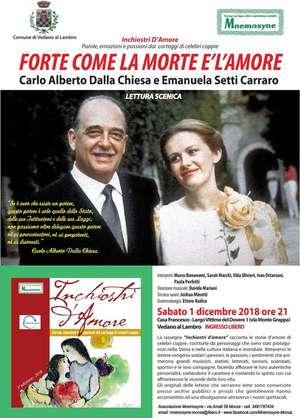 Locandina spettacolo Carlo Alberto Dalla Chiesa e Emanuela Setti Carraro